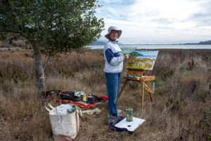 Frances Healey Painting at Bolinas Lagoon